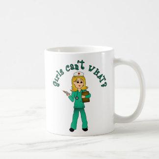 Nurse in Green Scrubs (Blonde) Classic White Coffee Mug