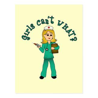Nurse in Green Scrubs (Blonde) Postcard