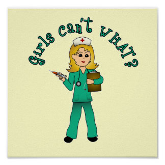 Nurse in Green Scrubs (Blonde) Print