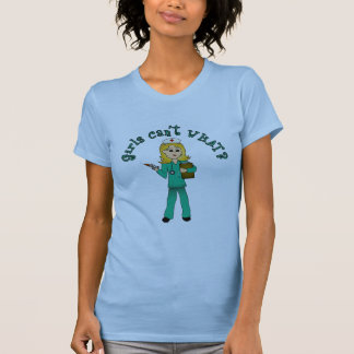 Nurse in Green Scrubs (Blonde) T-Shirt