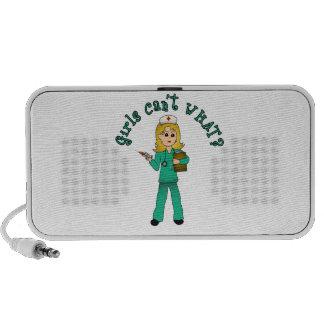 Nurse in Green Scrubs (Blonde) Travelling Speaker