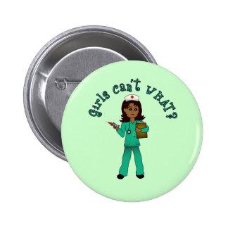 Nurse in Green Scrubs Dark Buttons