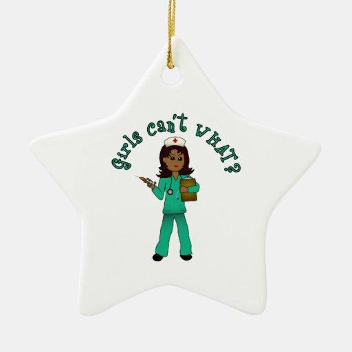 Nurse in Green Scrubs (Dark) Ceramic Ornament