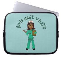 Nurse in Green Scrubs (Dark) Laptop Computer Sleeve
