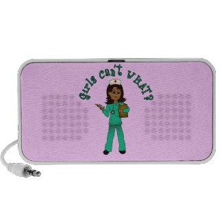 Nurse in Green Scrubs (Dark) Mini Speaker