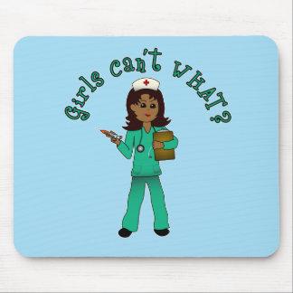 Nurse in Green Scrubs (Dark) Mouse Pad