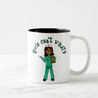 Nurse in Green Scrubs (Dark) Two-Tone Coffee Mug