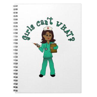 Nurse in Green Scrubs (Dark) Notebook