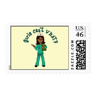 Nurse in Green Scrubs (Dark) Postage Stamps