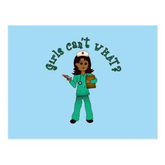 Nurse in Green Scrubs (Dark) Postcard