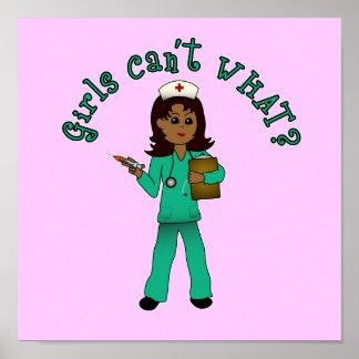 Nurse in Green Scrubs (Dark) Print
