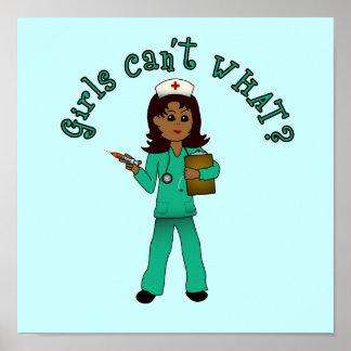 Nurse in Green Scrubs (Dark) Poster