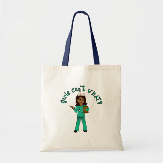 Nurse in Green Scrubs (Dark) Tote Bag