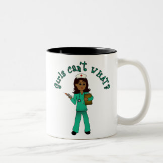 Nurse in Green Scrubs (Dark) Two-Tone Coffee Mug
