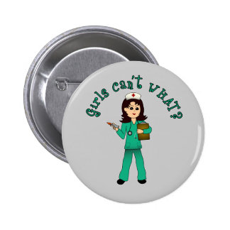 Nurse in Green Scrubs Light Buttons