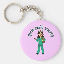 Nurse in Green Scrubs (Light) Keychain