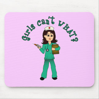Nurse in Green Scrubs (Light) Mouse Pads