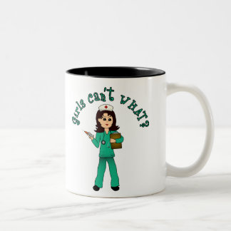 Nurse in Green Scrubs (Light) Two-Tone Coffee Mug