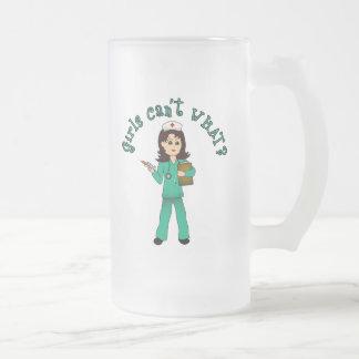 Nurse in Green Scrubs (Light) 16 Oz Frosted Glass Beer Mug