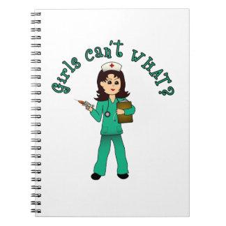 Nurse in Green Scrubs (Light) Notebook