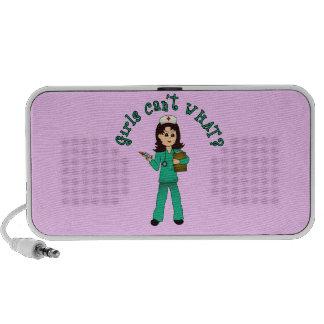 Nurse in Green Scrubs (Light) Portable Speaker