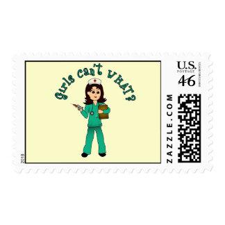 Nurse in Green Scrubs (Light) Postage Stamps