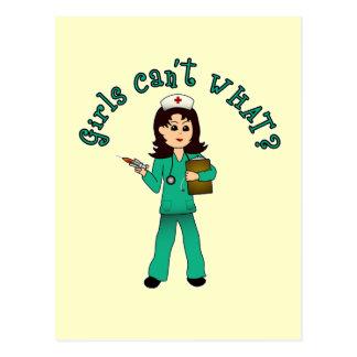 Nurse in Green Scrubs (Light) Postcard