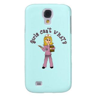 Nurse in Pink Scrubs (Blonde) Galaxy S4 Case