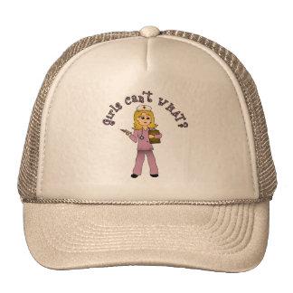Nurse in Pink Scrubs (Blonde) Trucker Hat