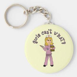 Nurse in Pink Scrubs (Blonde) Keychain