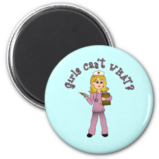 Nurse in Pink Scrubs (Blonde) Magnet