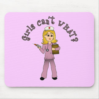 Nurse in Pink Scrubs (Blonde) Mouse Pad