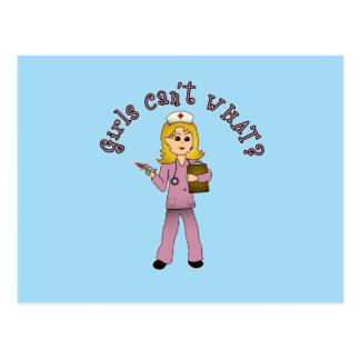 Nurse in Pink Scrubs (Blonde) Postcard