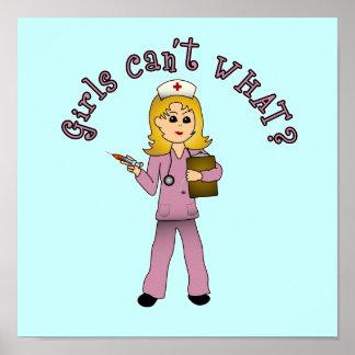 Nurse in Pink Scrubs (Blonde) Posters
