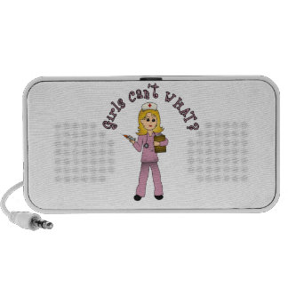 Nurse in Pink Scrubs (Blonde) Travel Speaker