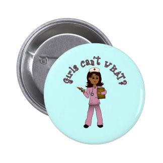 Nurse in Pink Scrubs Dark Buttons