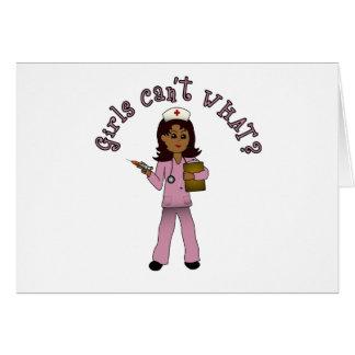 Nurse in Pink Scrubs (Dark) Card