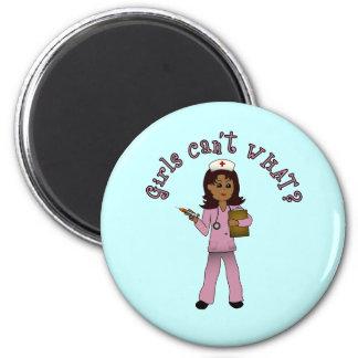 Nurse in Pink Scrubs (Dark) Magnet