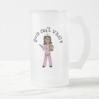 Nurse in Pink Scrubs (Dark) 16 Oz Frosted Glass Beer Mug