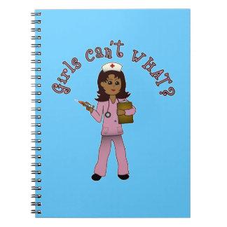 Nurse in Pink Scrubs (Dark) Notebook
