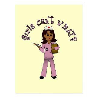 Nurse in Pink Scrubs (Dark) Postcard