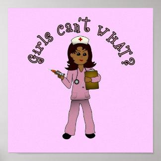 Nurse in Pink Scrubs (Dark) Print