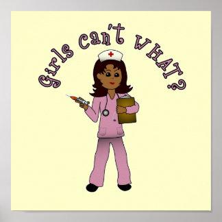 Nurse in Pink Scrubs (Dark) Poster