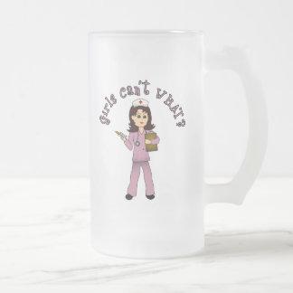 Nurse in Pink Scrubs (Light) 16 Oz Frosted Glass Beer Mug