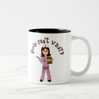 Nurse in Pink Scrubs (Light) Two-Tone Coffee Mug