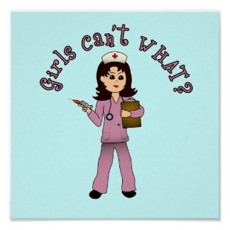Nurse in Pink Scrubs (Light) Poster