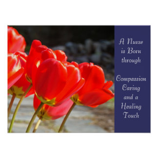 Nurse is born art Caring Compassion Healing Touch Poster