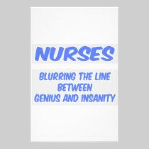 Nurse Joke .. Genius and Insanity Custom Stationery