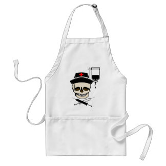 NURSE JOLLY ROGER PIRATE WITH IV BOTTLE ADULT APRON