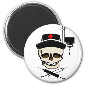 NURSE JOLLY ROGER PIRATE WITH IV BOTTLE MAGNET